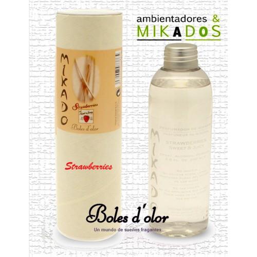 Recambio Mikado, STRAWBERRIES, Boles d`olor+ varitas de Rattan